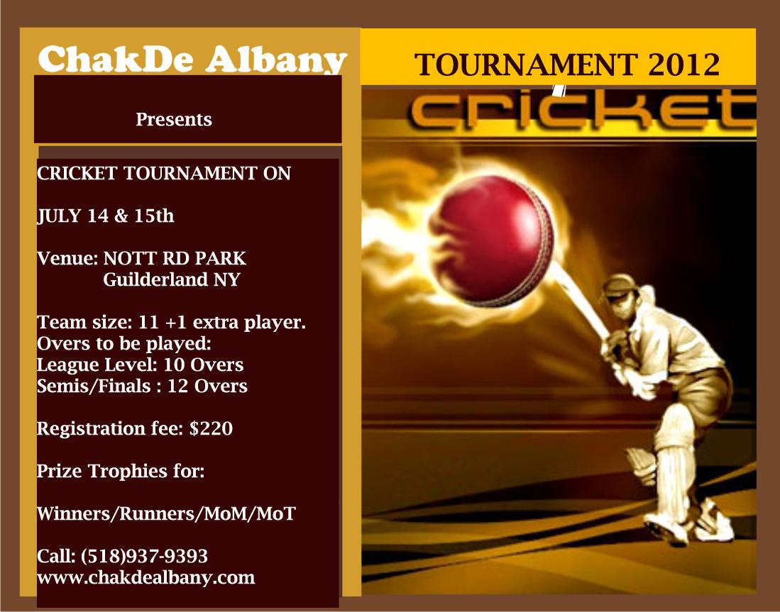 Cricket Tournament Anouncment Wording: Chak De Albany